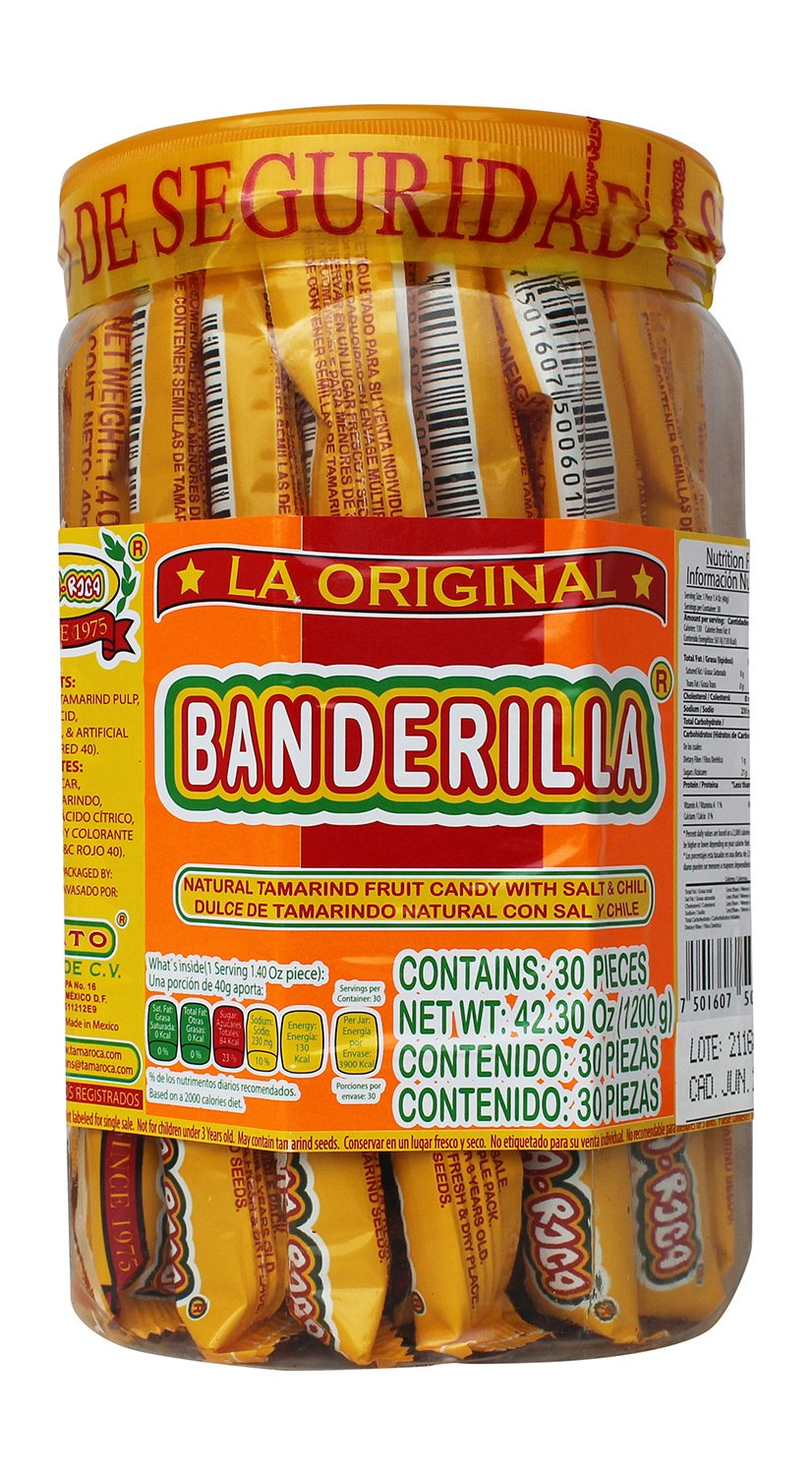 Banderilla Tama-Roca Tamarindo Mexican Candy Sticks. Contains 30 Pieces of Spicy Tamarind Candy With Salt And Chili. : Grocery & Gourmet Food