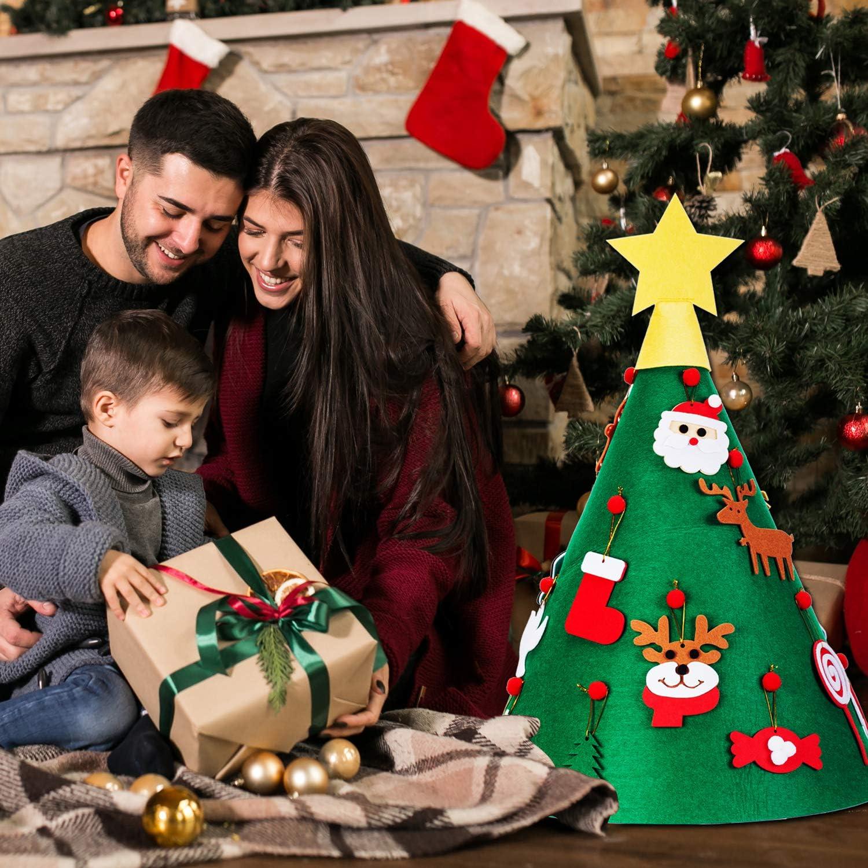 MELLIEX 3D DIY Albero di Natale in Feltro con 18 Pezzi Ornamenti Appesi e Bandiera di Buon Natale Decorazione per Regali di Natale di Bambini