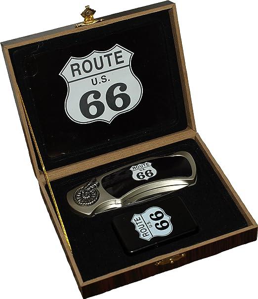 Set de navaja + encendedor Route 66 en caja de regalo: Amazon.es: Hogar
