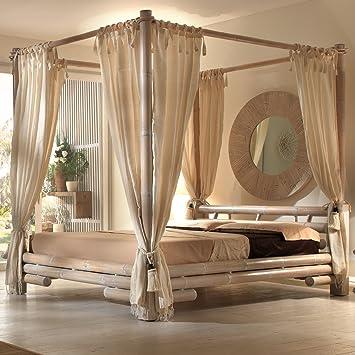 Himmelbett  Himmelbett Tabanan 180 x 200 weiß | Bett mit Himmel Bambus: Amazon ...