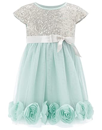 ebcc854a2bd Image Unavailable. Image not available for. Color  Mrprettys Girls Silver  Sequin Mint Tulle Flower Girl Dress ...