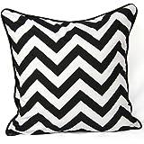 Cojín de 100% algodón, diseño zigzag color negro, tamaño 45,72 cm x 45,72 cm
