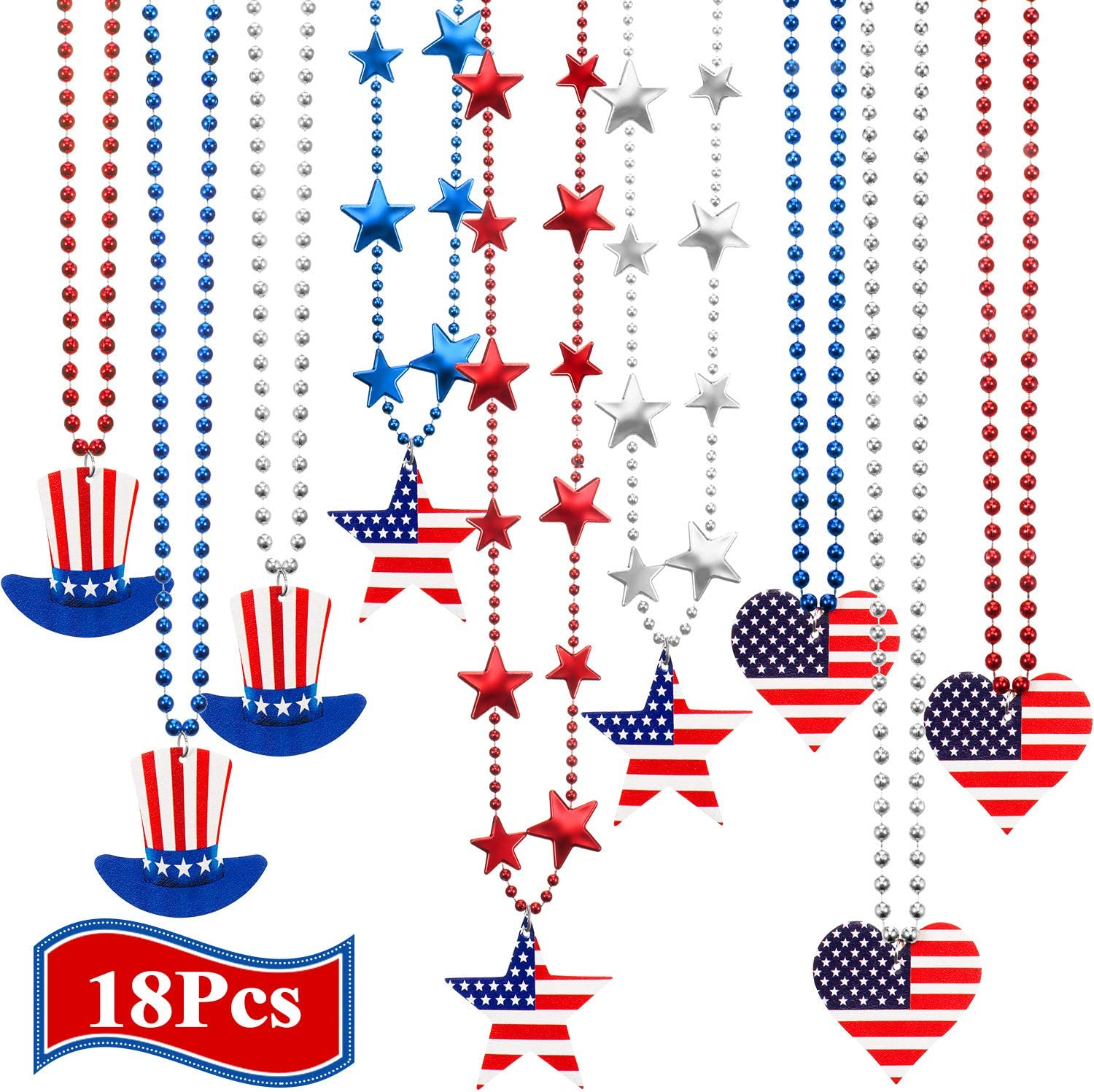 ATROPOS 36 Pcs 4th of July Beaded Necklaces Metallic Patriotic Star Necklaces Independence Day Necklace for Memorial Day Patriotic Events and Independence Day Party