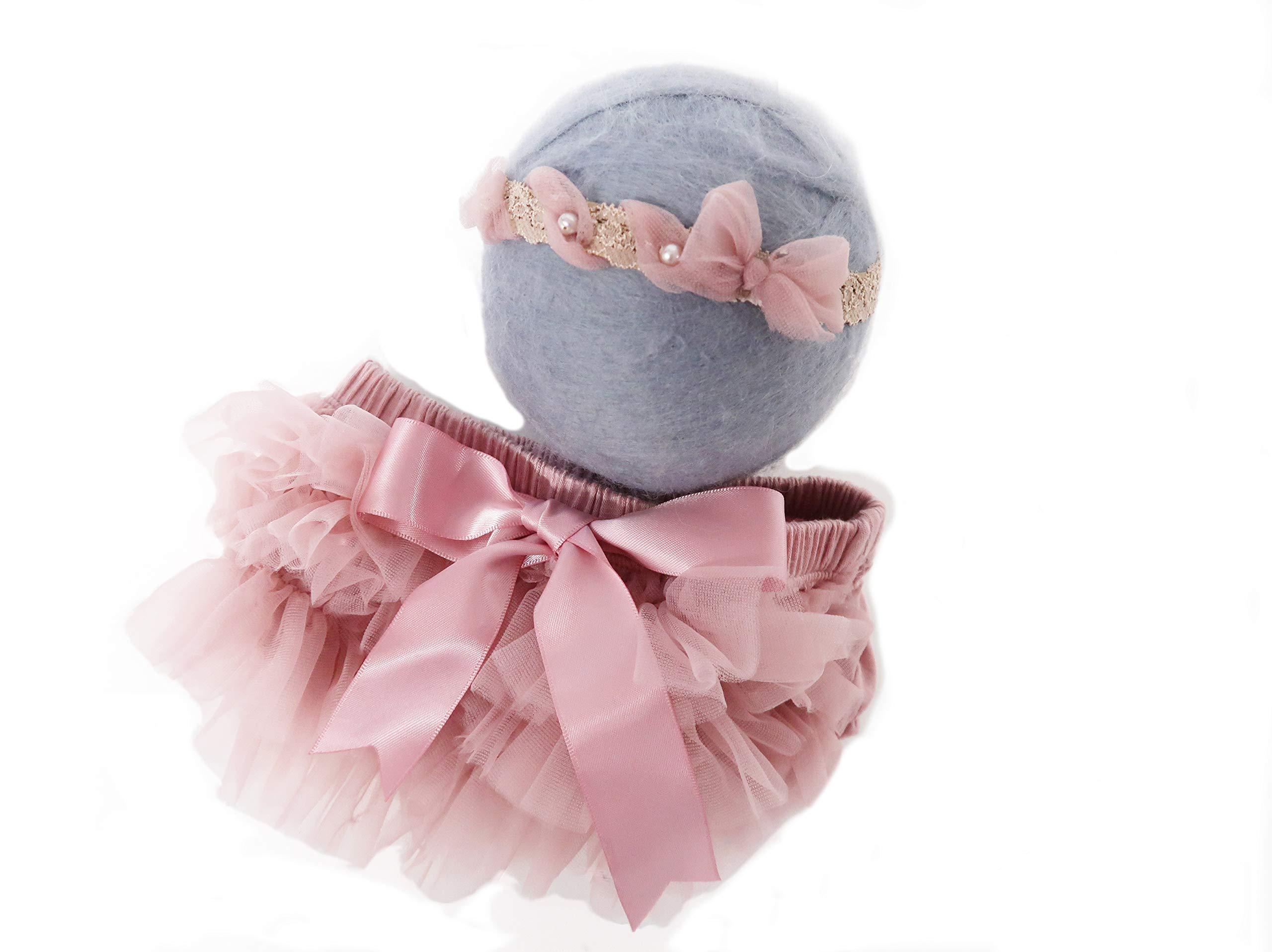Custom Photo Props, Professional Newborn Photography, Chiffon Diaper Cover with Matching Headband Set, Old Rose