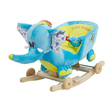 Livebest Baby Plush Rocking Horse Wooden Chair Rockers With Wheels,Seat  Belt Kid Rocking Horse