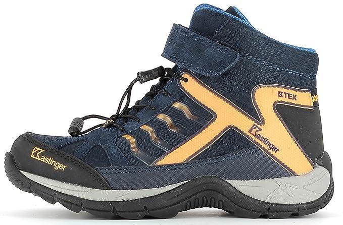 Kastinger Mountain Mid K Wasserdichter Kinder Outdoor-Stiefel, K-TEX® Membran für Wasserdichtigkeit und Atmungsaktivität, Schnellschnürung plus Klett, Blau (Dark navy/orange), 30