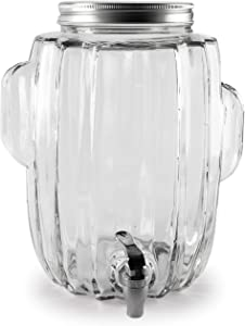 Circleware Cactus Jar Glass Beverage Dispenser with Lid, Glassware Water Juice, Beer, Wine, Liquor, Kombucha Iced Punch & Best Selling Drinks, 2.2 Gallon, Clear