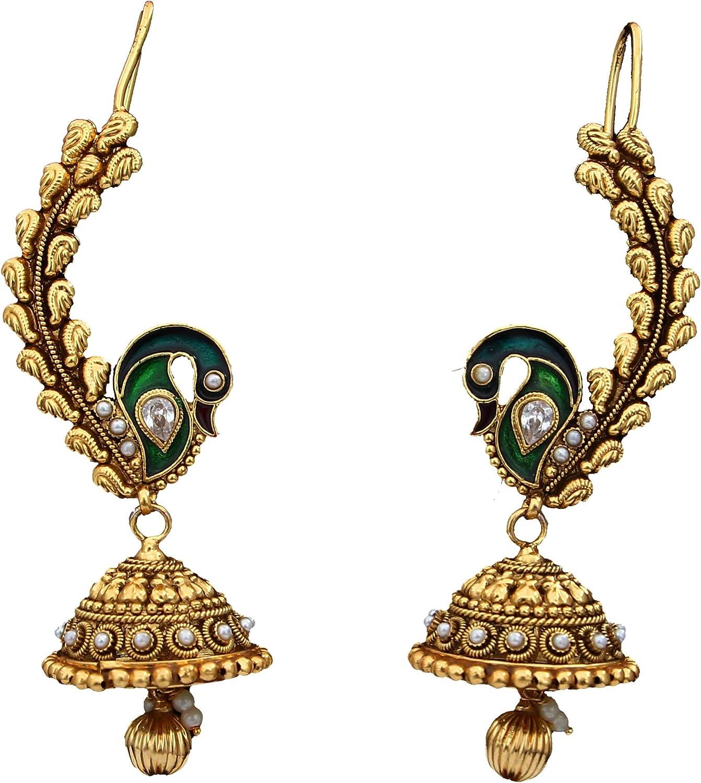55Carat Pendientes colgantes chapados en oro con cristales, rubí, esmeralda, perla exclusiva colección india, regalo para niñas y mujeres