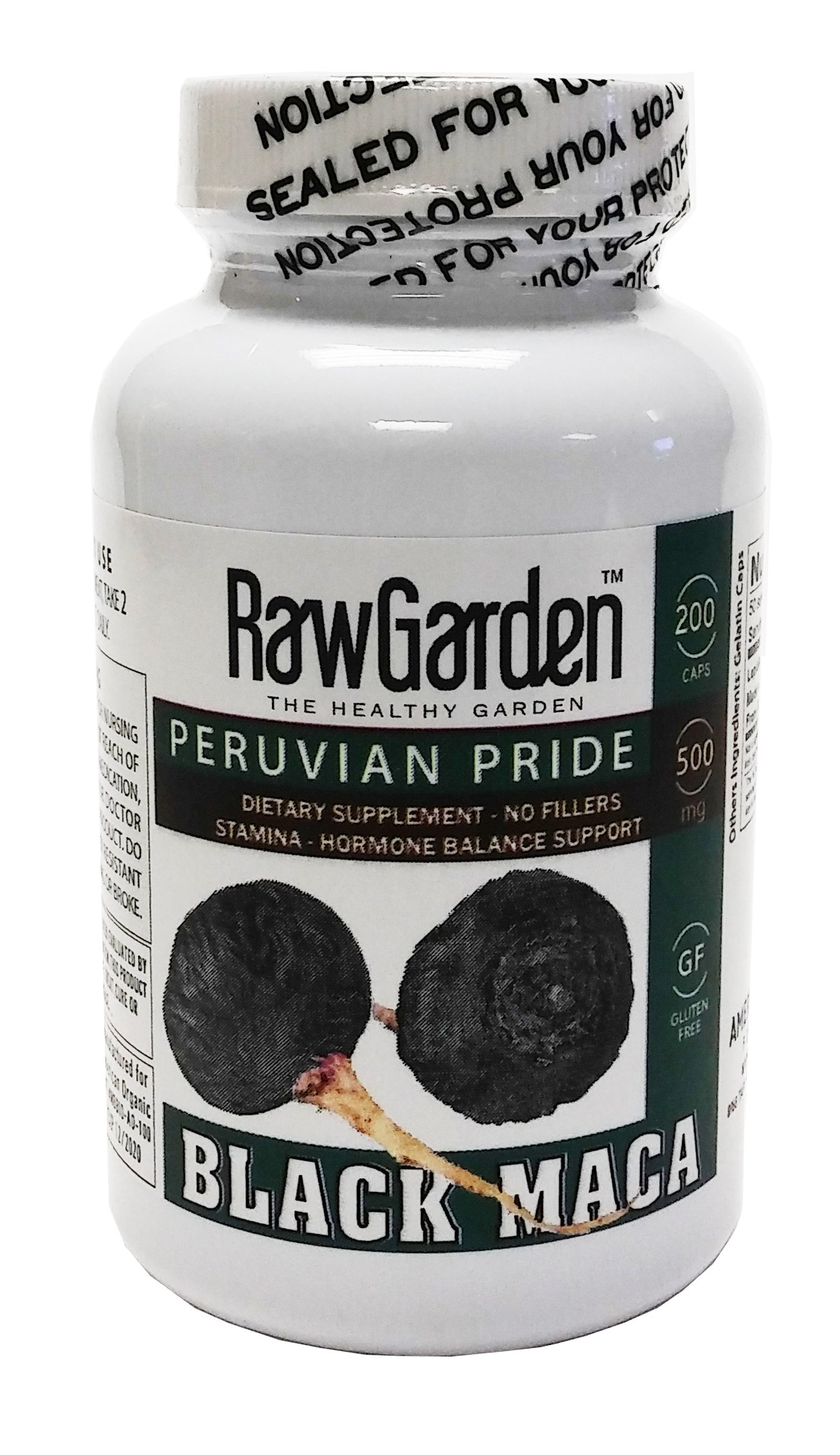 Raw Garden Peruvian Black Maca 200 Capsules 500 mg Gelatinized for Enhanced Bioavailability No Fillers