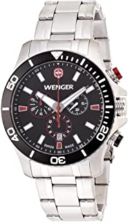 Wenger Sea Force Chrono Mens Quartz Watch with Black Dial Analogue Display and Black Silicone Strap