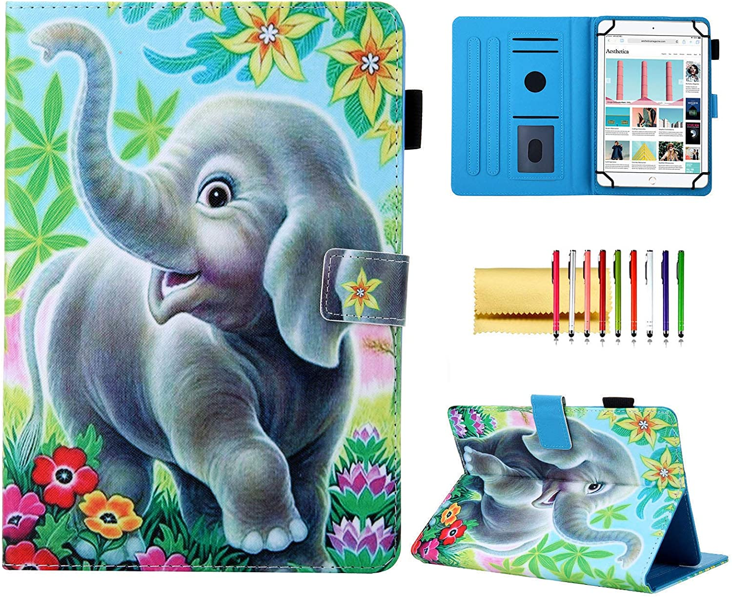 10 inch Tablet Universal Case, Techcircle Cute Stand Flip Protective Cover Case with Pen Holder, for iPad 4 5 6 7, Samsung Galaxy Tab A 9.7 10.1 10.5 Tab S4 S5e S6, Surface Go, Elephant