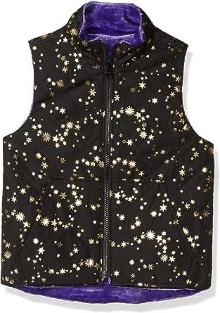 Spotted Zebra Reversible Plush Vest Outerwear-Jackets, Black Gold Star/Purple, XS