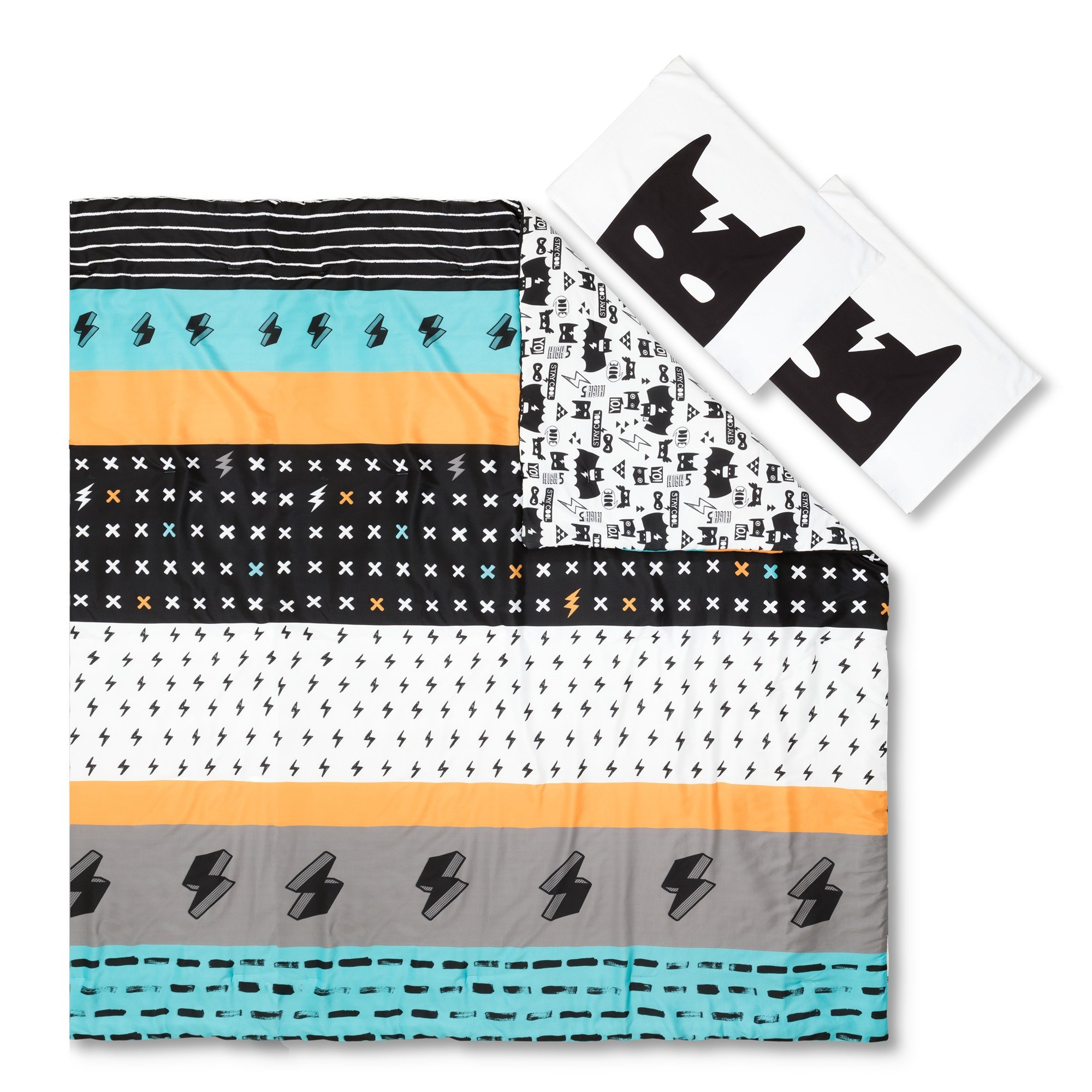 South Shore Dreamit Superheroes Reversible Full Comforter and Pillowcases, Black/White, 2 Piece