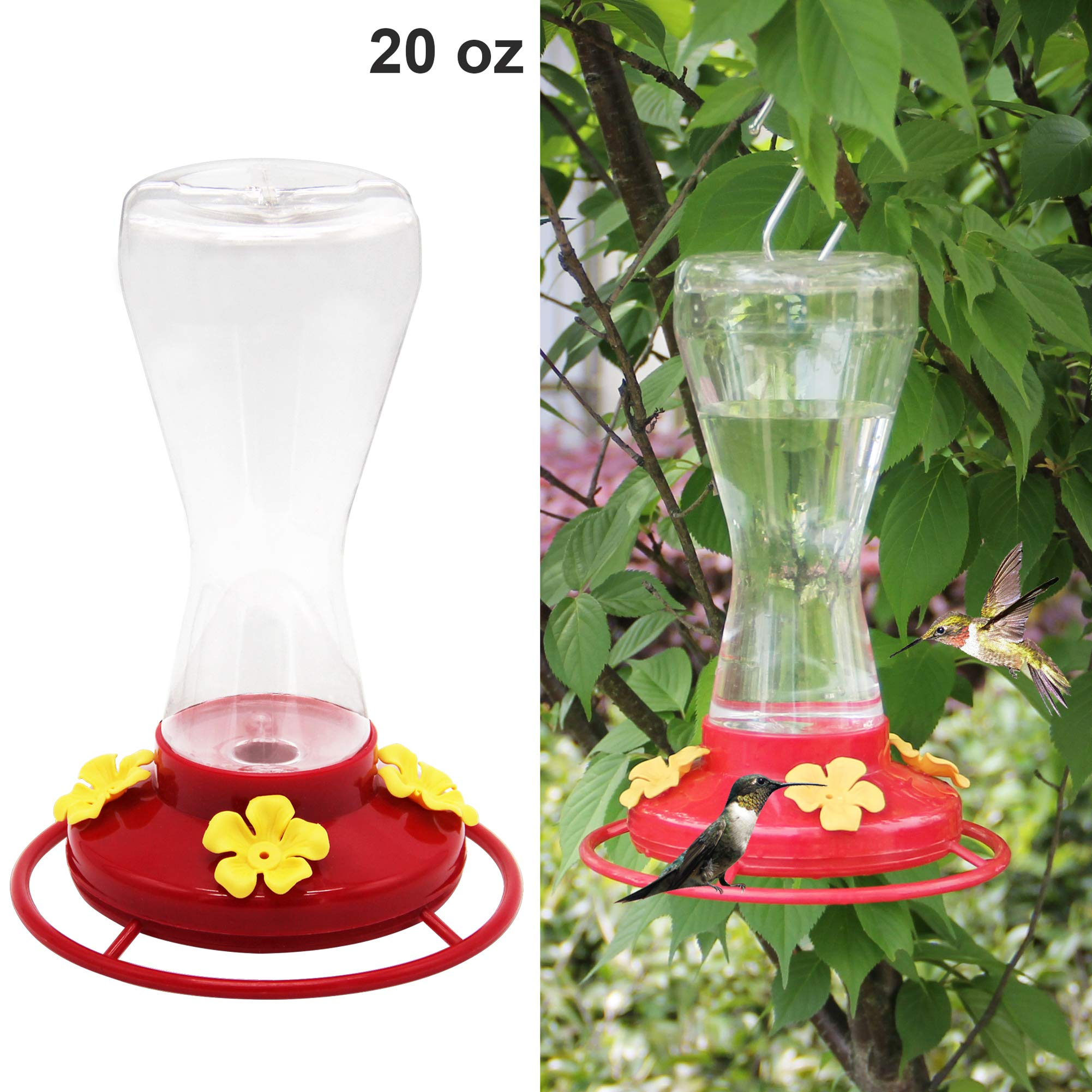 Twinkle Star 20-Ounce Hanging Hummingbird Feeder with 4 Feeding Ports