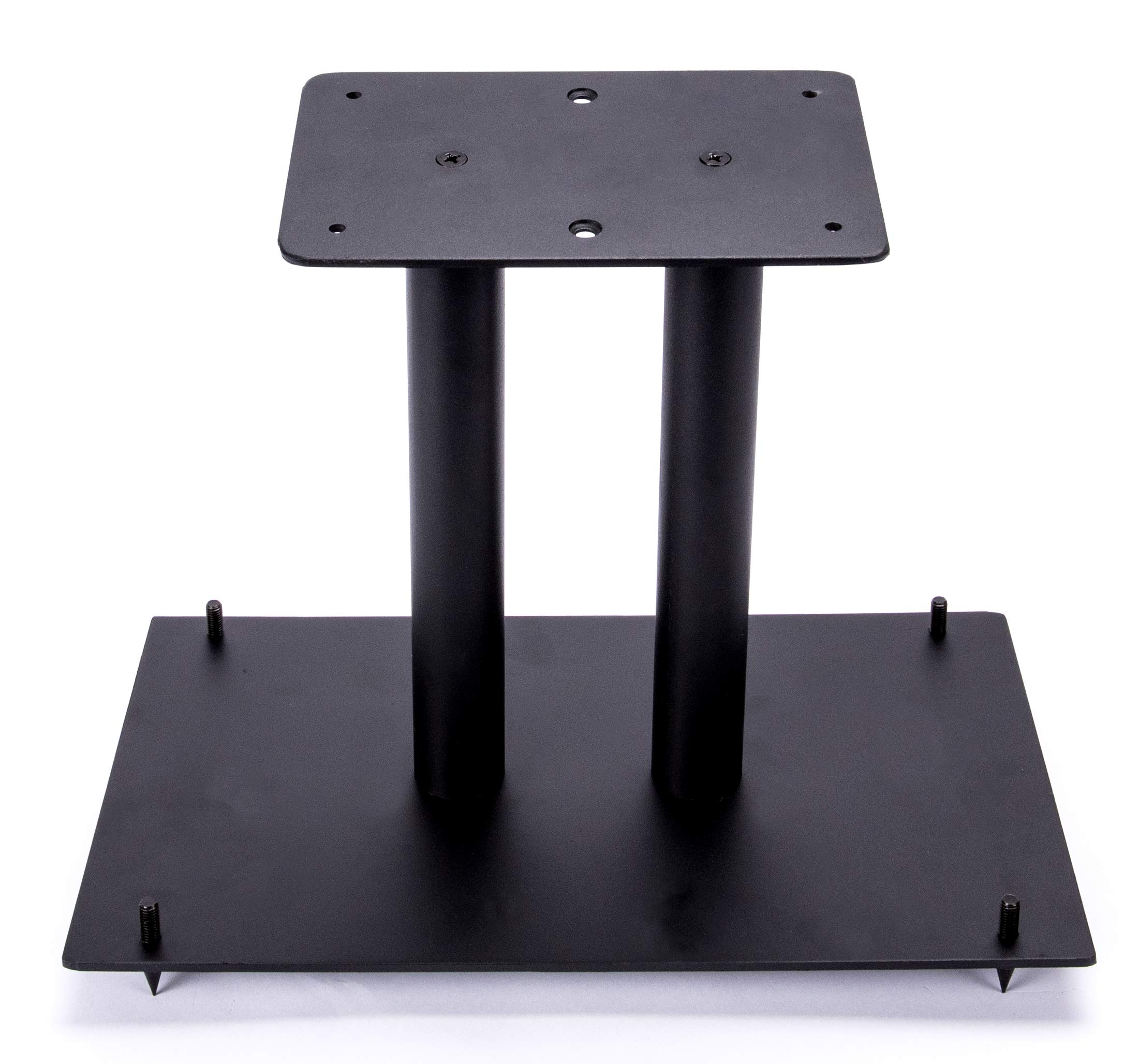 13'' Heavy Duty, Steel Center Channel Speaker Stand | Fillable | For Medium to Large Speakers | Comes with Steel Carpet Spikes | By Vega A/V Systems | 15.5'' x 9.5'' Base, 5.5'' x 9'' Speaker Pedestal by Steel Made