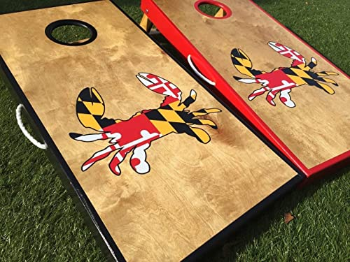 Custom Made Cornhole Bean Bag Toss BOARDS with BAGS Citizen Pride Art of Blue Crab Maryland MD Flag Wood Look
