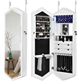 SONGMICS 6 LEDs Jewelry Cabinet With Mirror, Lockable Wall Door Mounted Jewelry  Armoire Organizer,