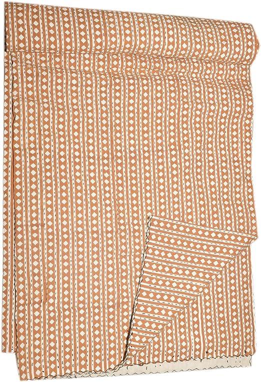 Tamaño de la Reina Ikat Kantha Colcha Algodón Reversible Ralli cama Spread Manta (naranja), algodón, Naranja ...