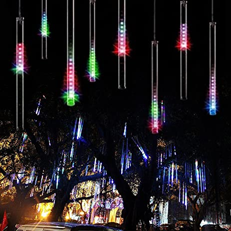 string lightsparagala waterproof falling rain fairy lights with 144 led 8 tubes meteor shower - Meteor Christmas Lights