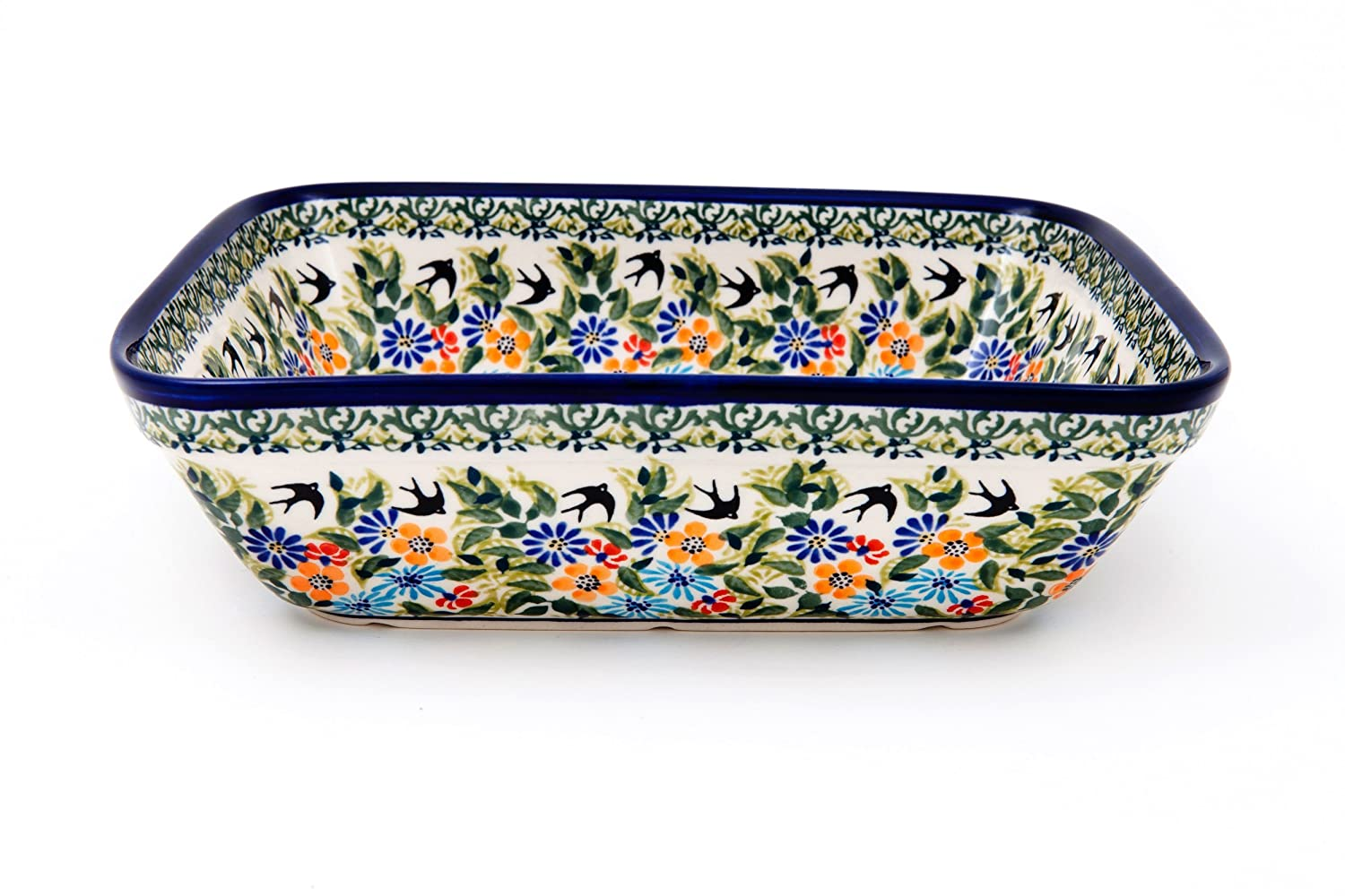 Hand-Decorated Polish Pottery Casserole Dish for 3 People with High Edge 1.5 Litres in Premium DU182 Bunzlauer Keramik