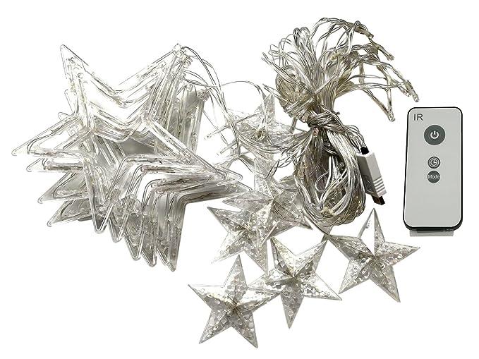 Stella Di Natale Luce.Dc5v Usb Alimentata Led Stella Tenda Con Telecomando 8 Modalita Luci Di Stringa Led Luce Tenda Catena Stella Di Natale Decorazione Lampada Luci