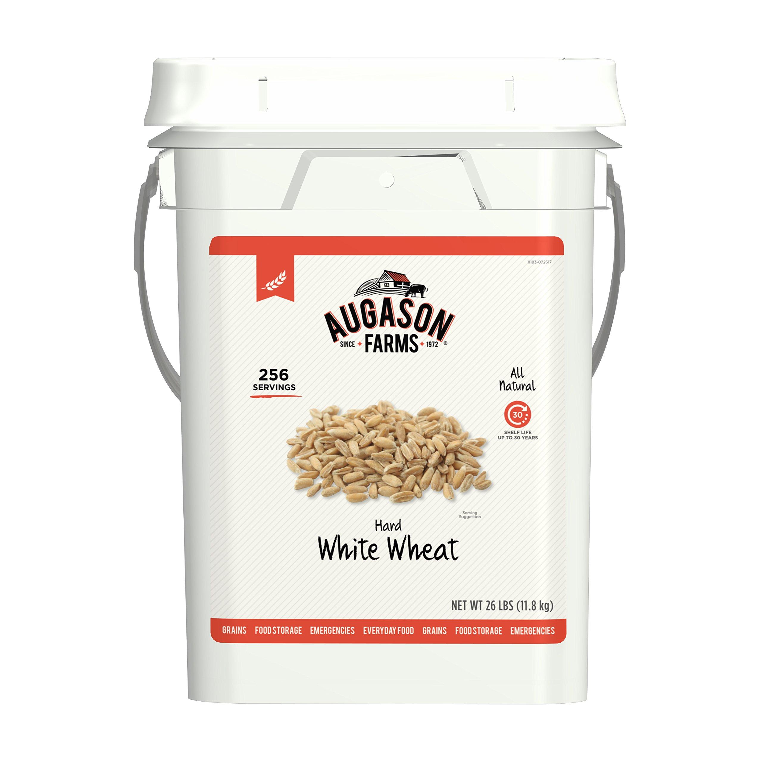 Augason Farms Hard White Wheat Emergency Food Storage 26 Pound Pail