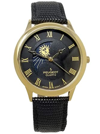 b40d6420a58 Peugeot Men s 14K Gold Plated Sun Moon Phase Vintage Dress Analog Watch  with Leather Strap