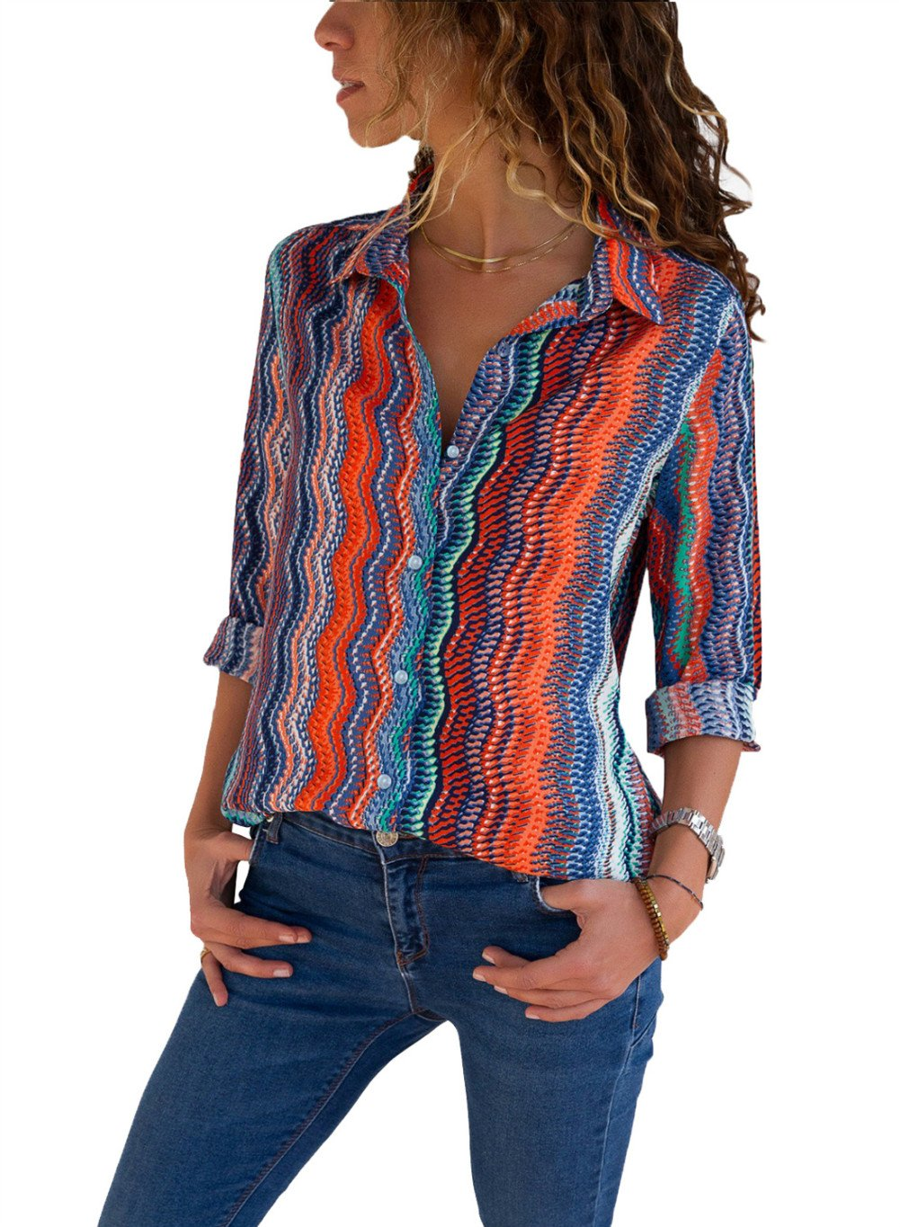 HUUSA Womens Casual Shirts Elegant Loose Long Sleeve Summer V Neck Button up Color Block Stripes Peasant Blouse Top L Multicoloured