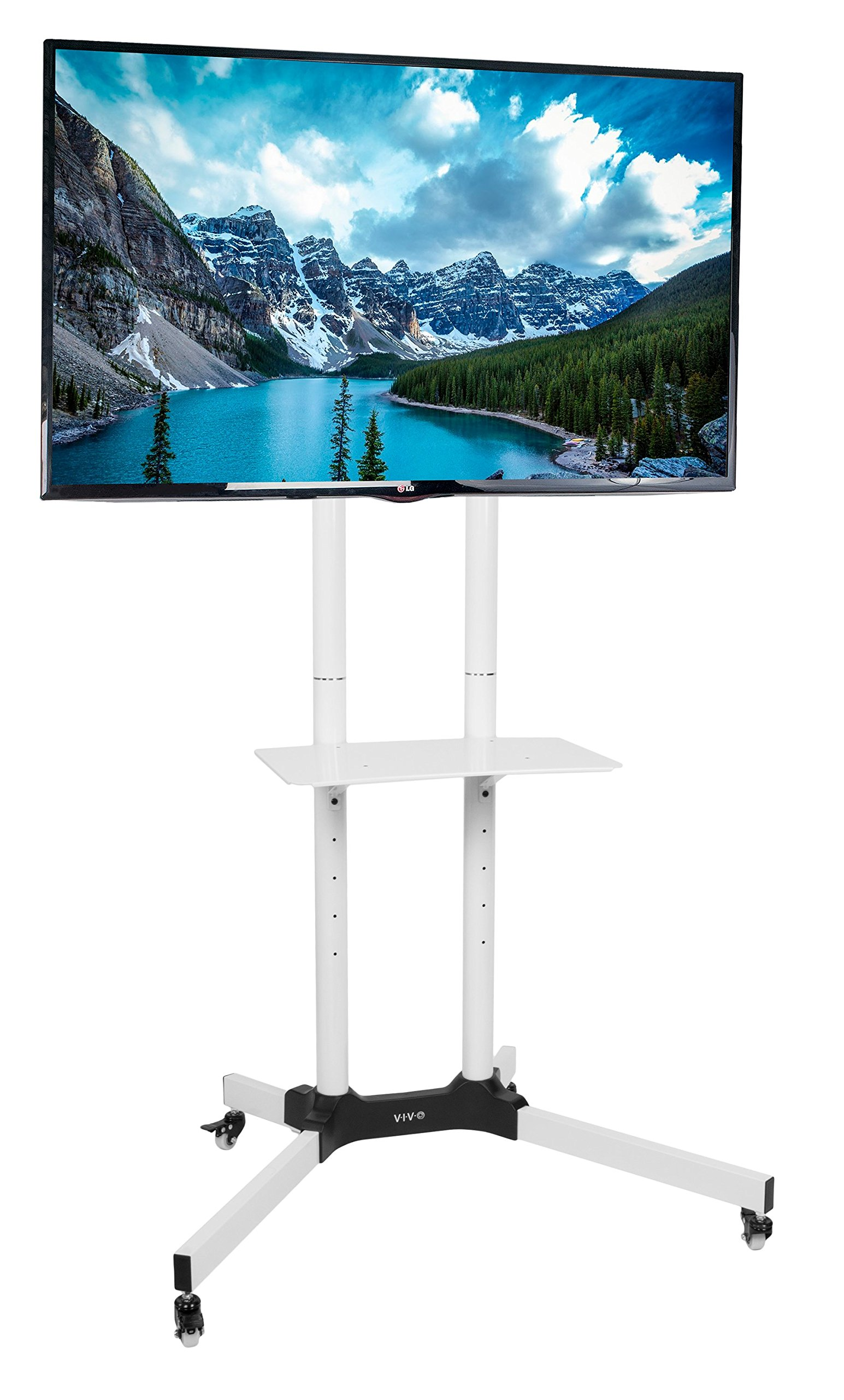 VIVO White Mobile TV Cart for 32'' to 65'' LCD LED Plasma Flat Panel Screens | Rolling TV Stand with Wheels (STAND-TV03W)