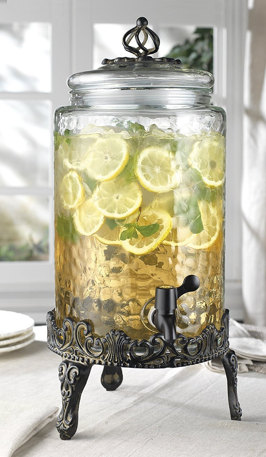Elegant Home Hammered Glass Ice Cold Beverage Drink Dispenser - 2.7 Gallon, With Glass Lid and Antique Metal Stand, 100% Leak Proof Spigot- Wide Mouth Easy Filling For Outdoor, Parties & Daily Use