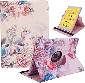 iPad 6th Generation Case, iPad 5th Generation Case, 360 Swivel iPad Air 2 Case, iPad Rotating Smart Stand Protective Cover with Auto Sleep Wake for Apple iPad 9.7 inch 2018/2017 Model (Peony)