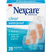 Nexcare Waterproof Clear Bandages, Germproof, Assorted Sizes, 20 Count (Pack of 4)