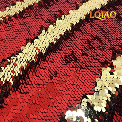 2d712793d0c339 Image Unavailable. Image not available for. Color  LQIAO Reversible Sequin  Fabric by The Yard Red Gold Flip Up Large Mermaid ...
