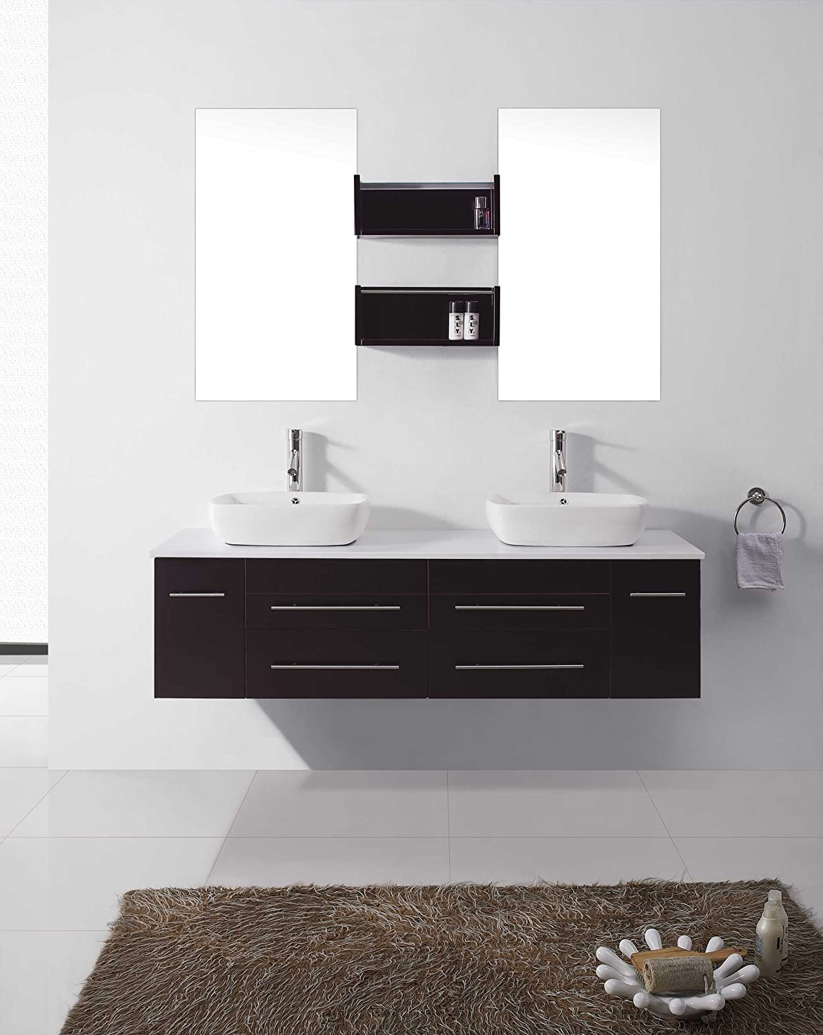 Virtu USA UM 3051 ES Augustine 60 Inch Wall Mounted Double Sink Bathroom  Vanity     Amazon.com