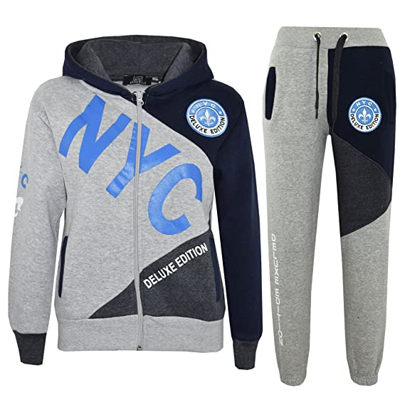 A2Z 4 Kids Enfants Garçons Survêtement - T.S NYC Project Grey   Blue ... ccfd5513079