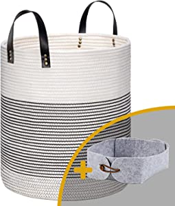 """Large Baby Tall Laundry Baskets, White Blankets Basket for Living Room, Woven Cotton Baskets for Storage, Rope Basket with Handle, Decorative Round Basket Use for Pillow, Towel, Toy or Nursery 15x18"""""""