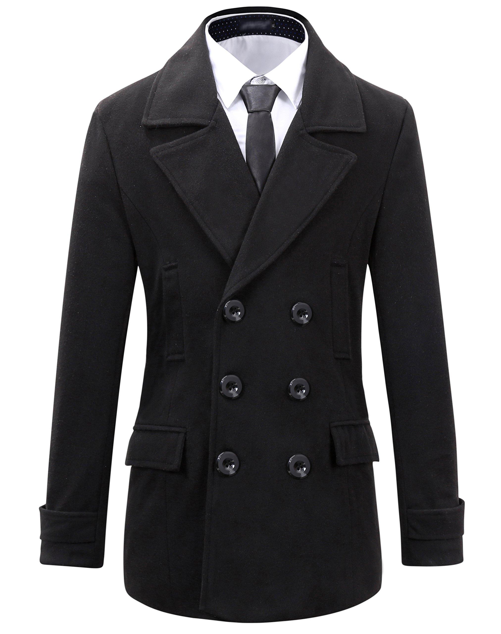 Beninos Mens Wool Slim Fit Double Breasted Half Trench Coat (0051, Black, XL) by Beninos
