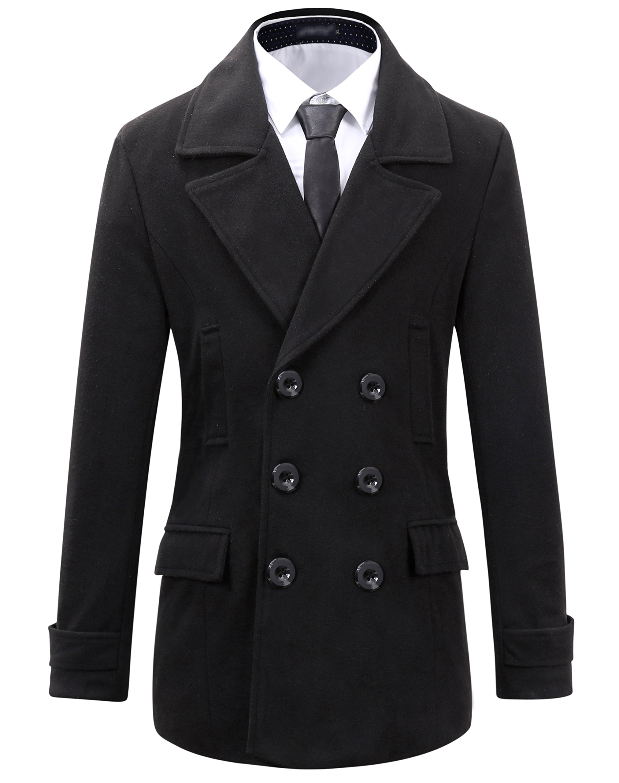 Benibos Mens Wool Slim Fit Double Breasted Half Trench Coat (XS, 0051Black) by Benibos
