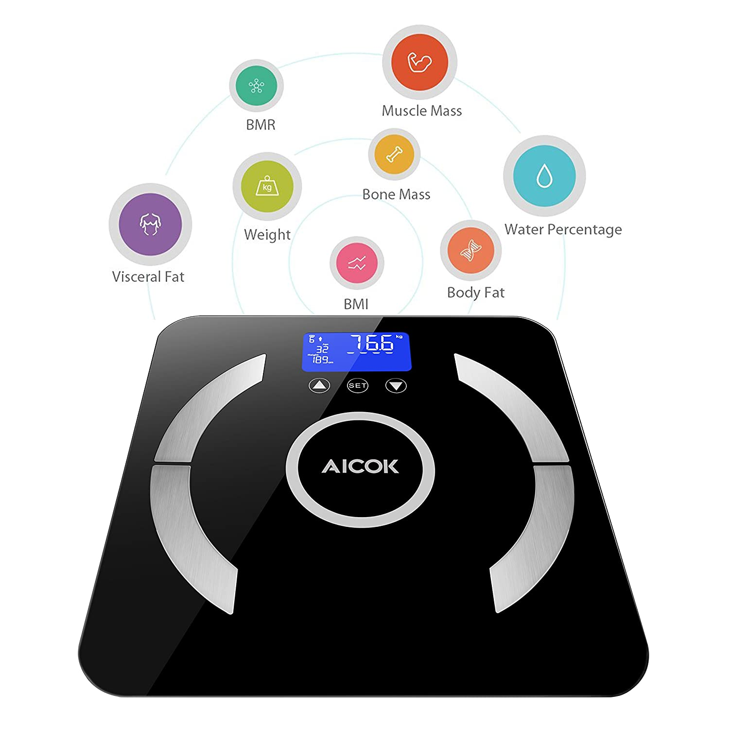Aicok Body Fat Scale, Digital Bathroom Weight Scale with 8 Body Composition Analysis, Step-On Technology, Backlight Display, BMI, Body Fat, Muscle, ...