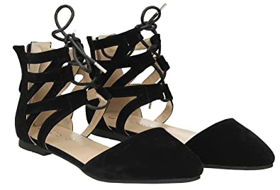 949c8c0200801d Blake Ladies Womens Lace up Ankle Flats Cut Out Black Flat Court Shoes  Dolly Shoes -