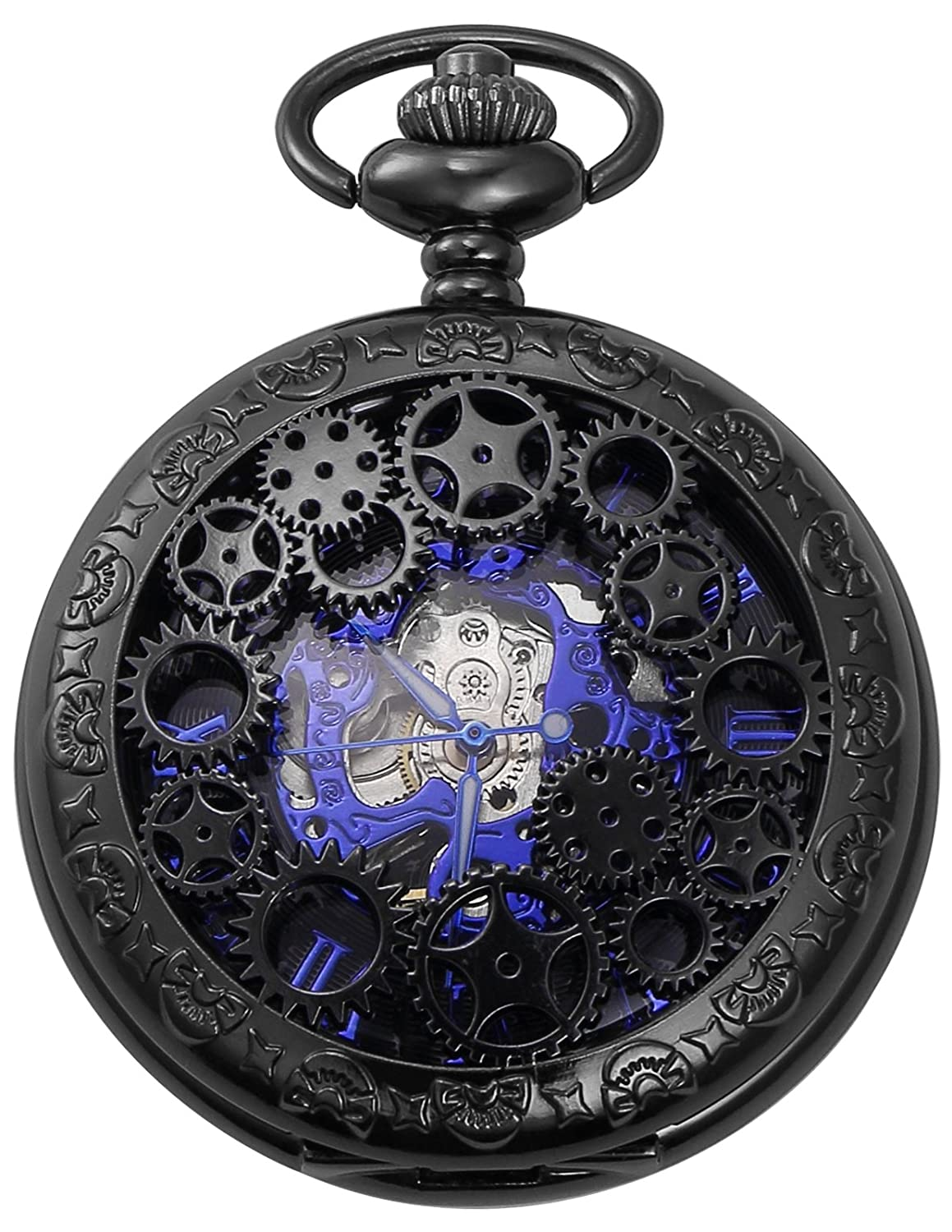 AMPM24 Mechanical Pocket Watch Skeleton Black Alloy Case WPK219
