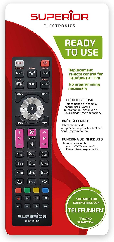Superior Electronics SUPTRB016 Telefunken Replacement, Mando de Repuesto Universal Compatible con Todos los televisores y Smart TV de Marca Telefunken, Listo para Usar, no Requiere programación, Negro: Amazon.es: Electrónica