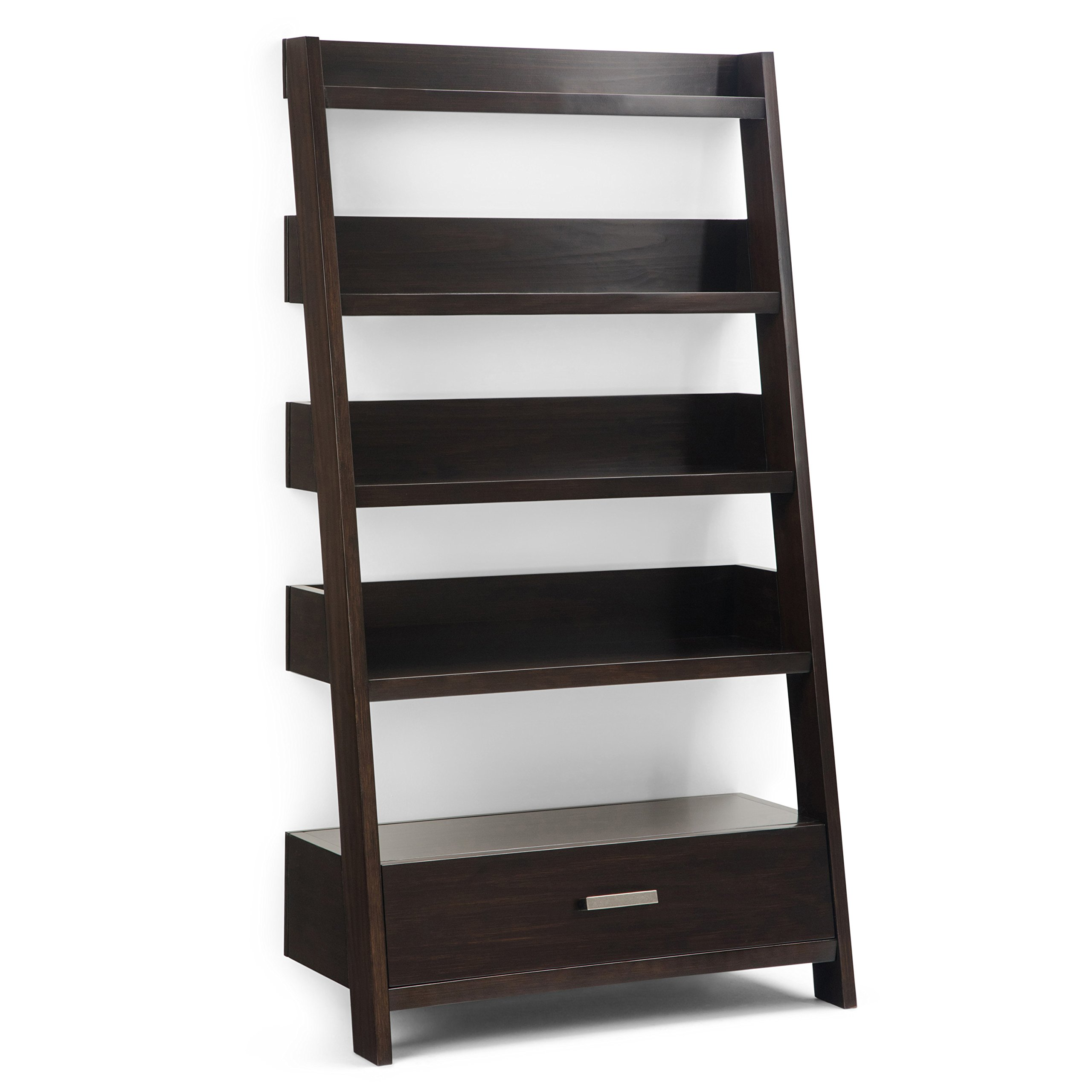 Simpli Home AXCDNA-15-BR Deanna Solid Wood 66 inch x 36 inch Contemporary Ladder Shelf in Dark Chestnut Brown