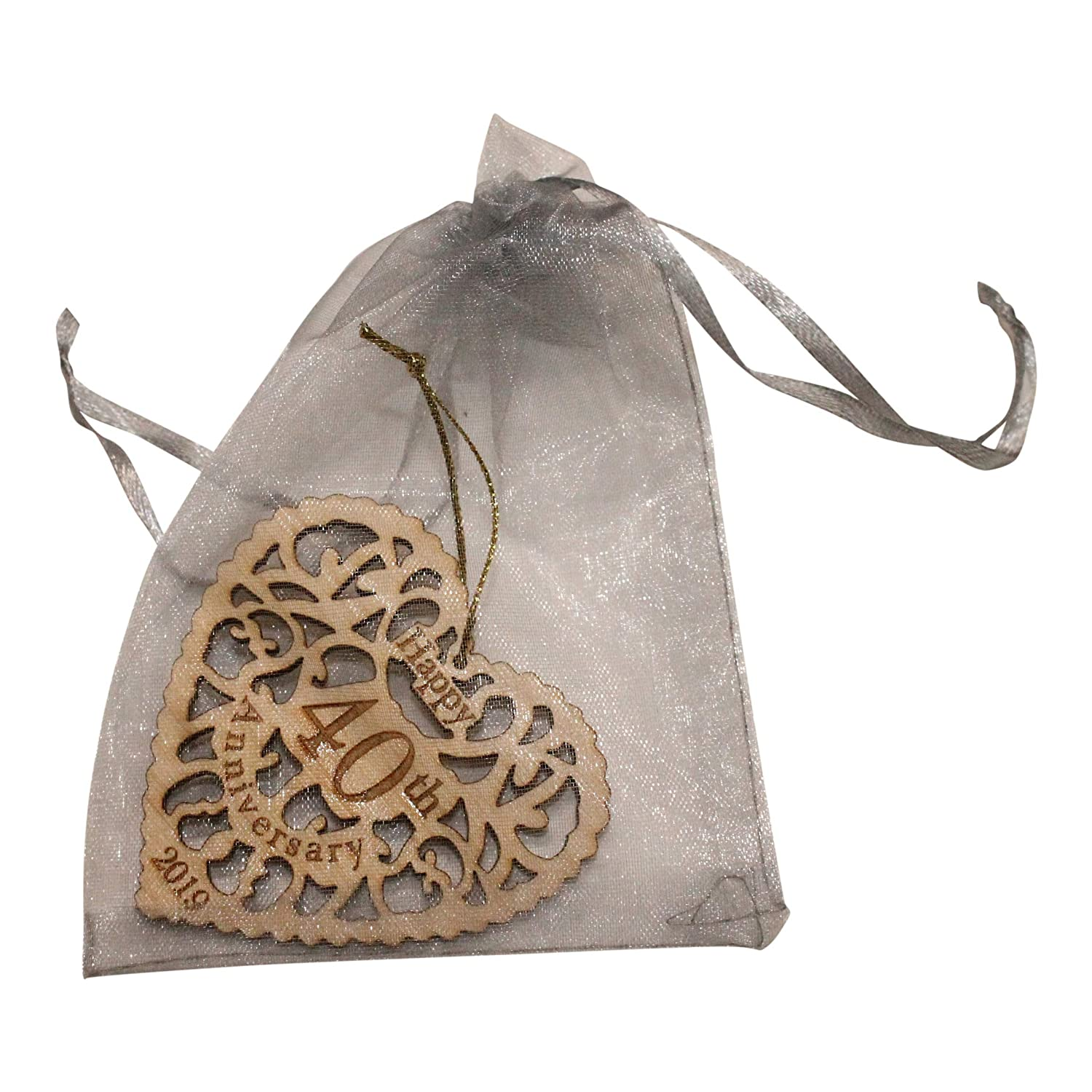 Twisted Anchor Trading Co 40th Anniversary Ornament 2019 Heart Shaped Happy Anniversary Ornament Beautiful Laser Cut Wood Detail Comes In A Pretty Organza Gift Bag So It S Ready To Give