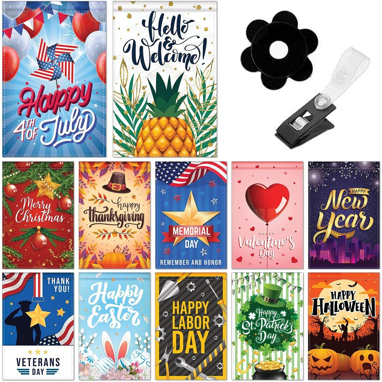 Seasonal Garden Flag Set , 12 Pack , 12 x 18 Inches , Yard Flag , Double Sided , Garden Flag Set , Small Garden Flag , Holiday Garden Flags , Outdoor Garden Flags , Free Anti-Wind Clip & Stopper
