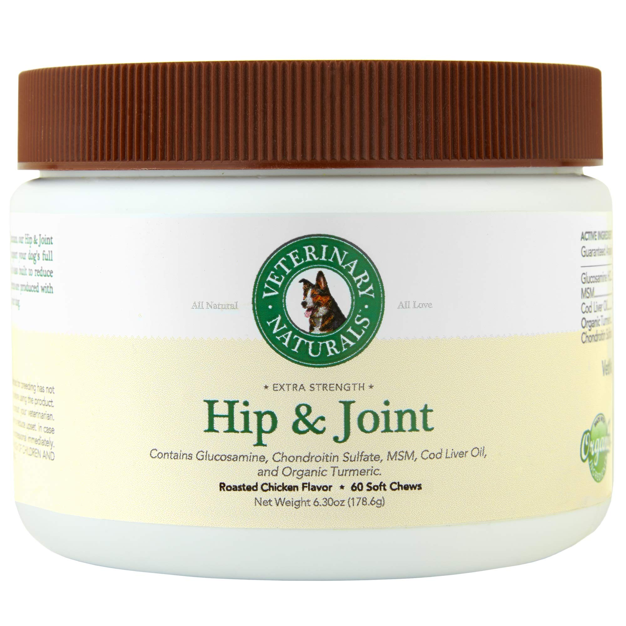 Veterinary Naturals Best Supplements for Dogs - Glucosamine, Chondroitin & MSM, Organic Turmeric & Fish Oil for Instant Pain Relief, Increased Mobility and Anti-Inflammatory (Chicken)