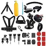 AKASO Action Cam Accessoires Set voor GoPro Hero/Vemont Vist Apeman VicTsizing Wimius ODRVM Bopower Action Camera, Accessoires Bundle met borstgordel/zuignap/fietshouder/anti-beslag-inzetstukken