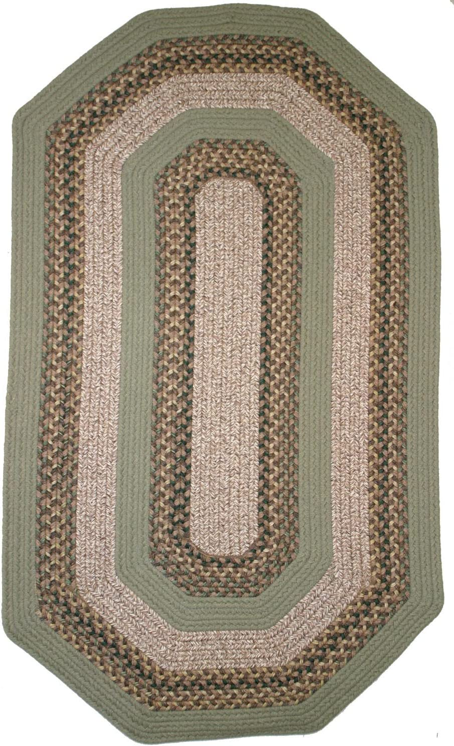Thorndike Mills Beantown Braided Rug 9' x 12' Elongated Octagon Boston Garden Green