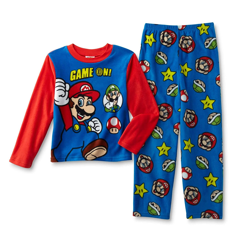 ea2df3161d Amazon.com  Super Mario Mario and Luigi Boy s Size 8 Fleece Game On Pajama  Set  Clothing