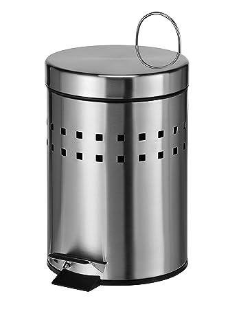 Bagnoxx Edelstahl Abfalleimer Design gelocht 3 L Büro Bad Treteimer Müll Küche